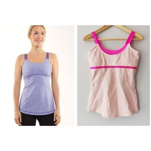 Lululemon Active Strength Tank Heathered Pink and Fuschia Double Straps